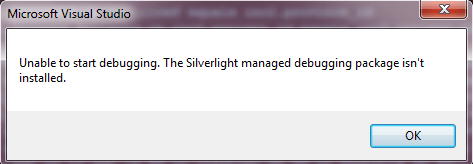 Unable to start debugging. The Silverlight managed debugging package isnt installed.Hatası ve Çözümü
